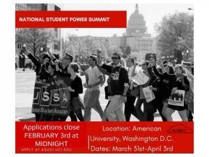 Apply to the National Student Power Summit! Applications close February 3rd at midnight. The conference will be held at American University in Washington DC from March 31st to April 3rd.